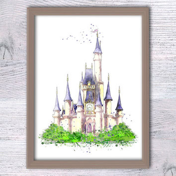 Disney Cinderella Castle Watercolor Poster Print Disney print, Disney castle print, princess castle, Princess print, Cinderella art V190