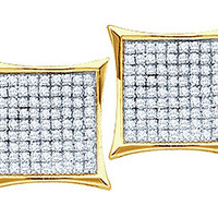 Round Diamond Ladies Micro Pave Fashion Earrings in 14k Gold 0.25 ctw