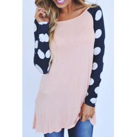 Sweet Scoop Neck Color Block Polka Printed Baseball T-Shirt For Women (AS THE PICTURE,XL) in Long Sleeves   DressLily.com