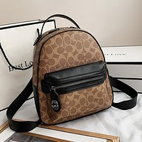Coach casual classic print backpack handbag with one shoulder cross-body bag