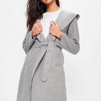 Missguided - Grey Faux Wool Hooded Duster Coat