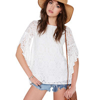 Lace Angel Sleeve Top