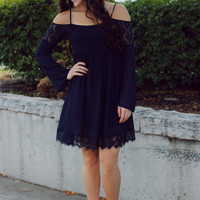 Look Before You Fall Dress - Navy