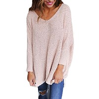 Women Simple Casual Solid Color V-Neck Loose Long Sleeve Knit Sweater Tops