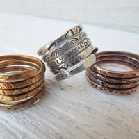 Choose your metal wrapped ring with handstamped designs by Amayeli