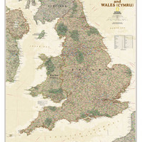 National Geographic - England & Wales Antique Map Poster