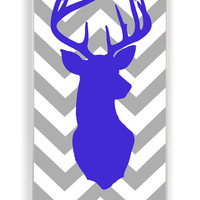 Cute Reindeer With Simple Chevron for Iphone 4 / 4s Hard Cover Plastic