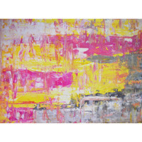 """Grey, Yellow and Pink Abstract Art Painting - 18"""" x 24"""""""