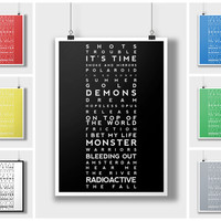 Imagine Dragons Songs Set List Setlist Typography Print. Gift Present Poster Photo Artwork Framed Wall Art Band Tour Tickets Gig Concert