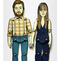 SET OF TWO personalized paper dolls