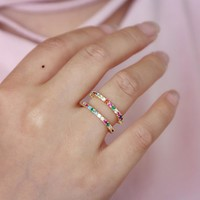 S925 silver ring mulit color delicate dainty heart ring colored CZ rainbow ring elegant thin 925 sterling silver 2mm stone ring