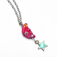 Half Moon Necklace FREE SHIPPING Hand Painted Colorful Flowers Boho Jewelry