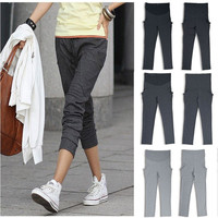 Fashion Womens Pregnant Cotton Trousers Maternity Slim Leisure Long Pants S-XL = 1945994180