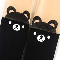 30 Denier Tights with Cute Bear Over The Knee - Choies.com