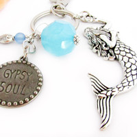 Mermaid Keychain, Gypsy Keychain, Car Accessories, Mermaid Key Chain, Beach Keychain, Fish Keychain, Beach Accessory