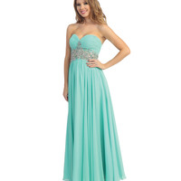 Mint Ruched Chiffon & Beaded Strapless Sweetheart Gown 2015 Prom Dresses