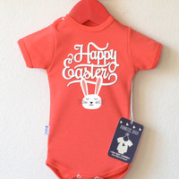 Easter Baby Clothes. Cute Easter Bunny Baby Bodysuit. Happy Easter Baby Romper. Baby Easter Outfit. First Easter Shirt. Choose Your Color.