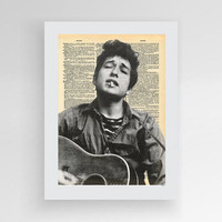 Digital Download, Bob Dylan Vintage Dictionary Print Wall Art Music Portrait, Instant Download,