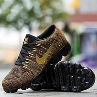 Nike Air Vapormax Popular Men Casual Air Cushion Sport Running Shoes Sneakers Golden