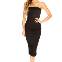 Black Strapless Ribbed Sexy Summer Midi Party Dress