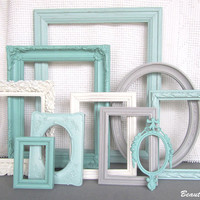 Mint Jade Grey Heirloom White(or True WHITE) Frame Set Custom Frames Open or Frames with GLASS You Choose Frame Collection Mint Gray Cream