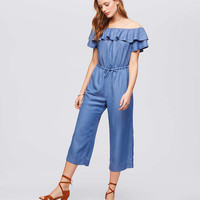 Off The Shoulder Chambray Jumpsuit | LOFT