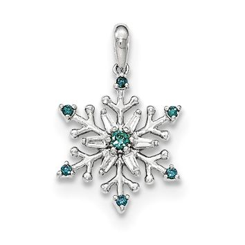 14K White Gold Blue And White Diamond Snowflake Pendant