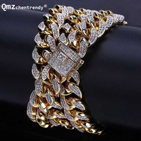 Punk 13mm Mens Miain Curb Cuban CZ Chain Necklaces Hip hop Men Necklace With Luxury Box Clasp Punk Bling Iced Out Jewelry