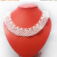 SALE White necklace red whitenecklace pearl  wedding necklcae white collar necklace statement necklace