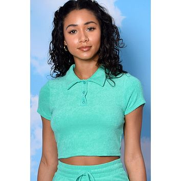 Life Of Leisure LUX Terry Button Up Polo - Kelly Green