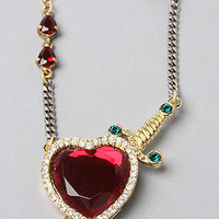 Disney Couture Jewelry The Mixed Chain Red Stone Heart Necklace in Gold : Karmaloop.com - Global Concrete Culture