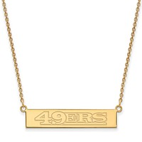 SS 14k Yellow Gold Plated NFL 49ers SM Bar Necklace, 18 In