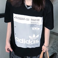 Adidas New fashion letter leaf print couple top t-shirt Black