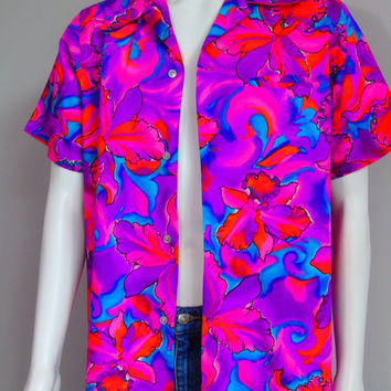 Pomare Tahiti Fluorescent Neon Shirt Vintage Dated 1974 G.V.H. Hawaiian Print Orchids Loud Mod Aloha Hawaii Camp Shirt  Sz M