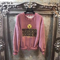 louis vuitton women casual fashion embroidery sequin letter pattern print long sleeve velvet sweater tops