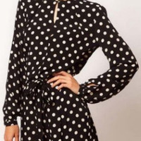 Black Long Sleeve Polka Dot Chiffon Romper