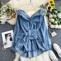 Women Solid Denim Dress Female Pocket With Belt Slim Dress Ladys Single Breasted Vintage Dresses