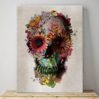 Skull Canvas Print, Floral Skull Wall Art, Unique Flower Skull Pattern Canvas Home Decor
