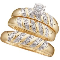 10kt Yellow Gold His & Hers Round Diamond Solitaire Matching Bridal Wedding Ring Band Set 1/12 Cttw 15483