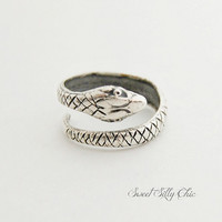 Sterling Plated Snake Ring, Silver Hand Formed Snake Ring, Unisex Snake Jewelry, Slytherin Ring