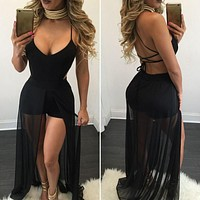 Pants V-neck Sexy Spaghetti Strap One Piece Dress [8035748609]