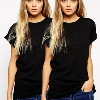 ASOS Boyfriend T-Shirt with Roll Sleeve 2 Pack SAVE 20%