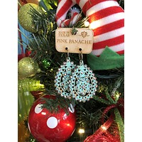 1E453TST Turquoise crackle wood Santa Fe tear drop with AB crystals earrings