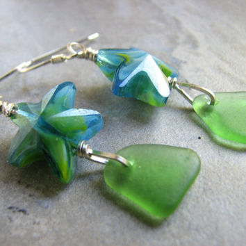 Glass Starfish Earrings, Genuine Sea Glass Earrings, Sterling Silver Wrapped Dangle Aqua Green Beach Style Seaglass Jewelry Nautical Gifts