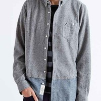 Native Youth Colorblocked Drop-Tail Flannel Button-Down Shirt- Grey