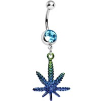 Aqua Crystal Fade to Blue Pot Leaf Dangle Belly Ring