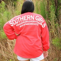 Southern Girl Monogrammed Spirit Football Jersey - Coral