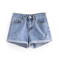 Ripped & Rolled Demin Shorts