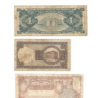 Vintage 3 Banknote Collection Including 1959 Nicaragua 1 Un Peso, 1928 Iceland 5 Kronur and 1951-59 Argentina 5 Pesos Note