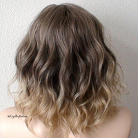 Ombre wig. Brown / blonde Ombre wig. Short wig. Beach waves hairstyle wig. Durable Natural looking High quality wig for daily use or Cosplay